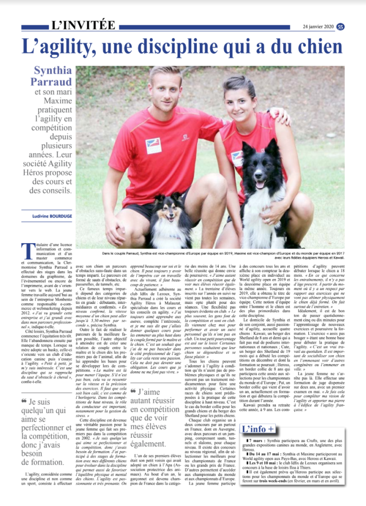 Article Semeur Hebdo - Agility - Synthia et Maxime Parraud